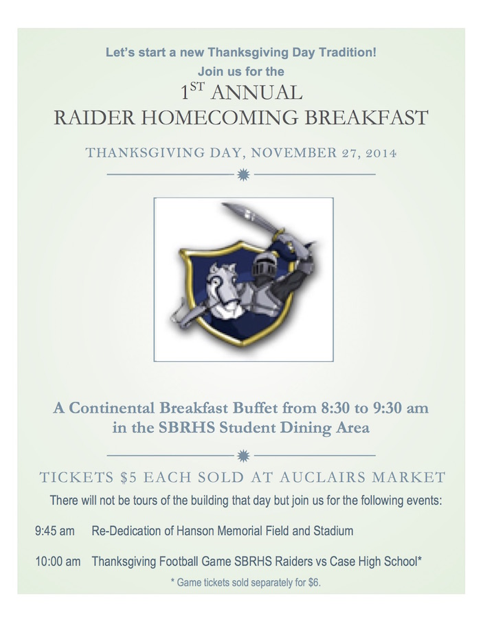 1st Annual Thanksgiving Homecoming Breakfast!